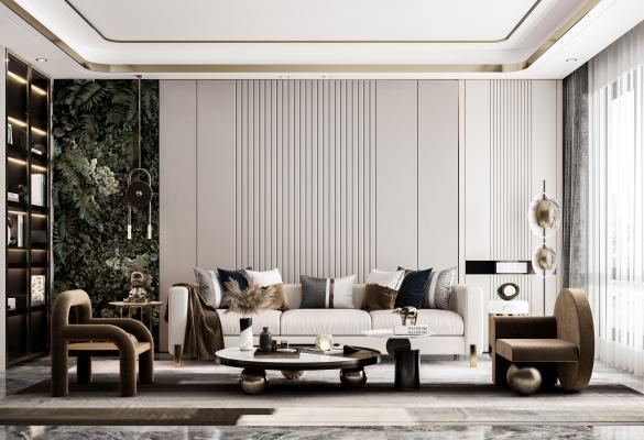 现代轻奢客厅 沙发组合 茶几 单人沙发