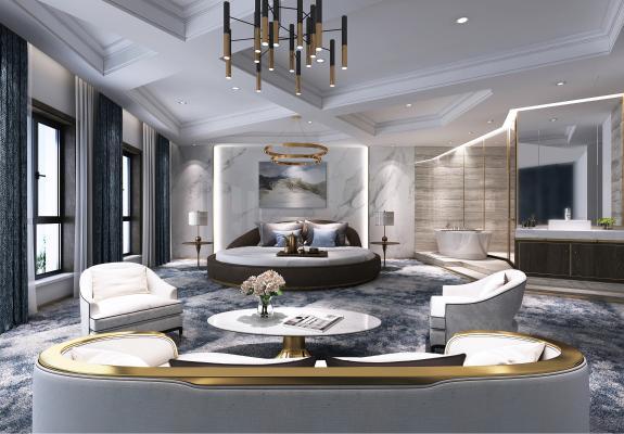 现代风格酒店客房 沙发茶几 挂画 摆件