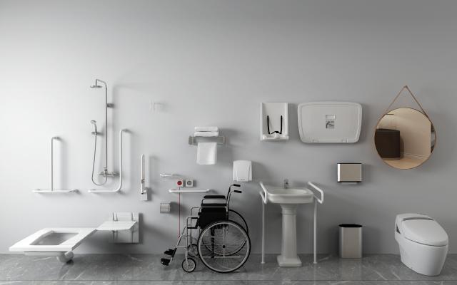 现代无障碍马桶卫浴设施
