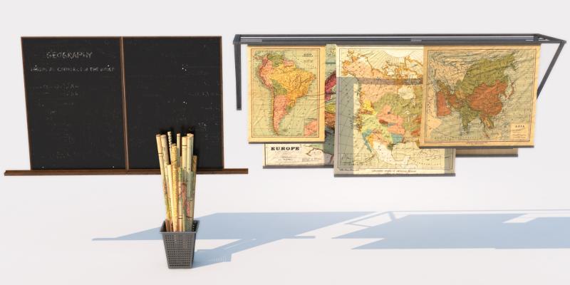现代地图 黑板 展示架