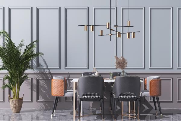 现代轻奢餐桌椅组合 艺术金属吊灯 绿植盆栽