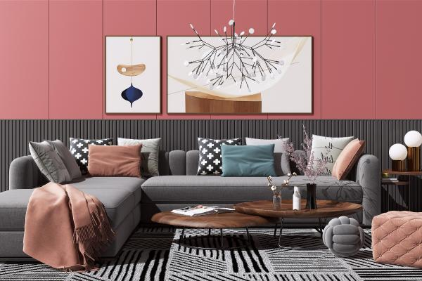 现代布艺转角沙发茶几组合 边几 台灯 装饰挂画