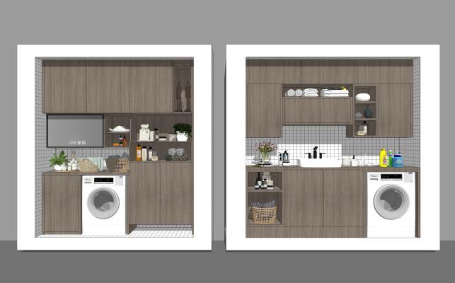 现代家居阳台 阳台柜 洗手台洗衣机组合