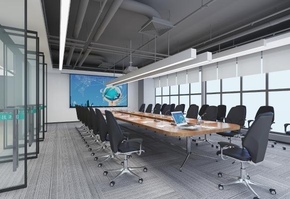 现代会议室 投影仪 会议桌椅