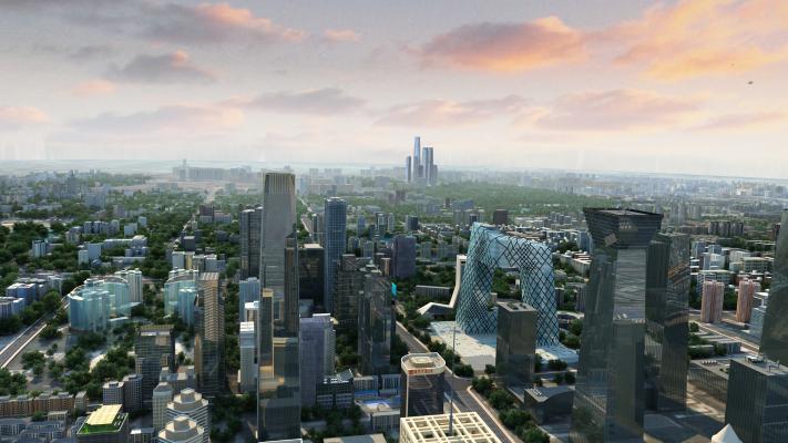 现代商业楼盘鸟瞰规划