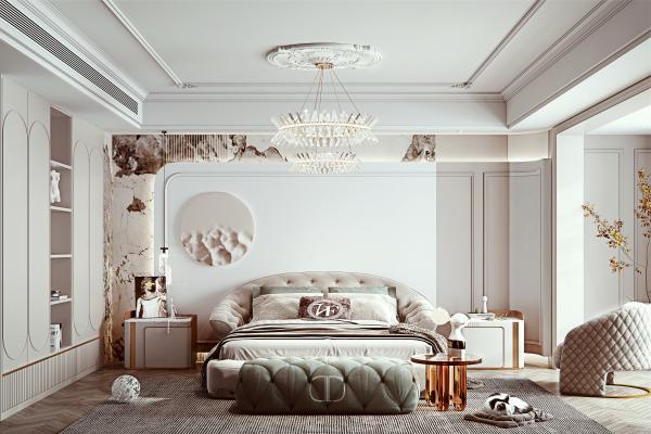 美式風格臥室 雙人床 床頭柜