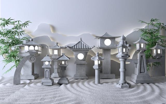 新中式户外灯 石灯