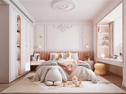 美式风格女孩房 布艺双人床 衣柜