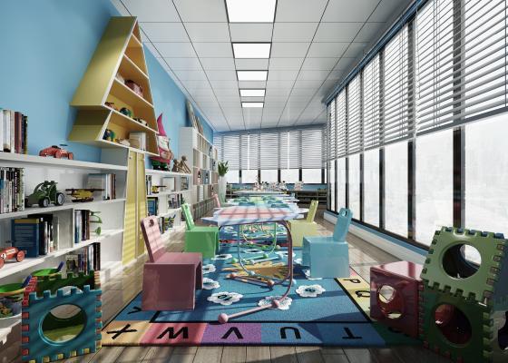 现代儿童游乐园 儿童椅儿童玩具书柜