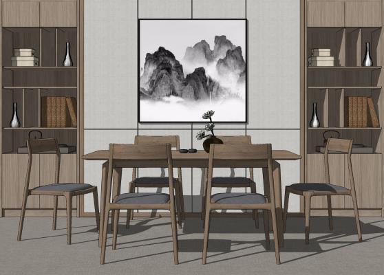新中式餐桌椅 收纳柜组合