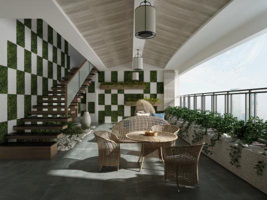 现代阳台花园植物墙藤椅休息区