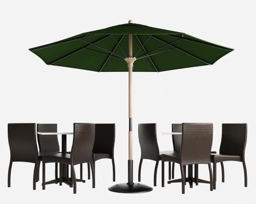 现代遮阳伞 休闲桌椅 遮阳棚