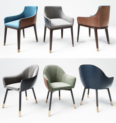 现代轻奢休闲餐厅椅 蓝色餐椅