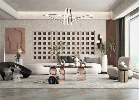 现代客厅 沙发茶几组合