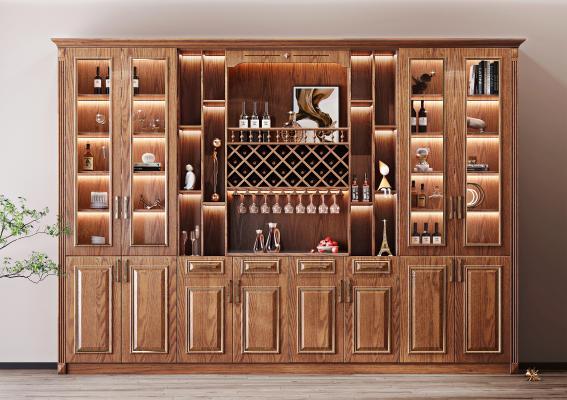 美式實木酒柜 酒瓶 杯架