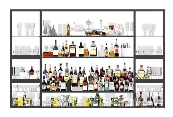 现代酒瓶 酒杯