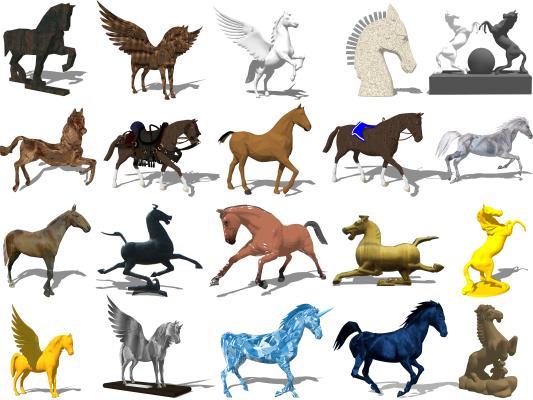 现代马 奔马 抽象马
