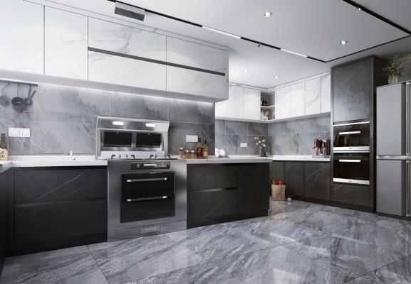 现代风格厨房橱柜 厨房电器 厨房用品