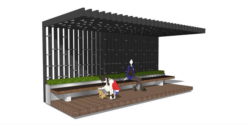 新中式风格廊架