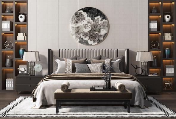 新中式双人床 床榻 床头柜