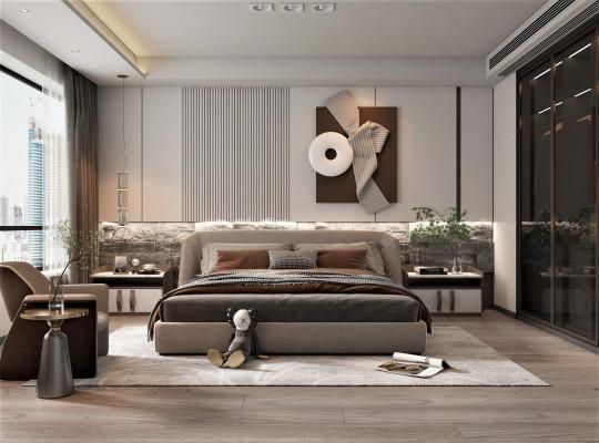 現代臥室 雙人床 衣柜