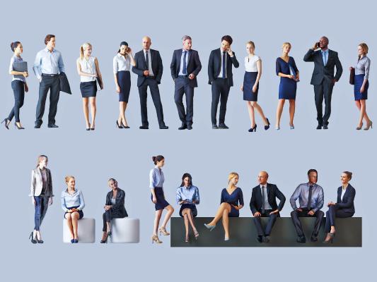 现代多人 办公人物