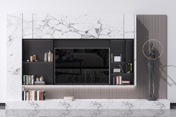 现代电视背景墙 电视柜 造型墙