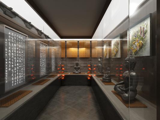 中式寺庙 佛堂 展示柜