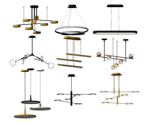现代金属吊灯组合