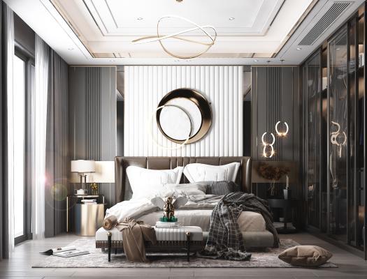 现代卧室 床 抱枕