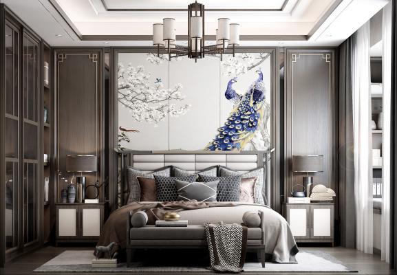 新中式臥室 吊燈