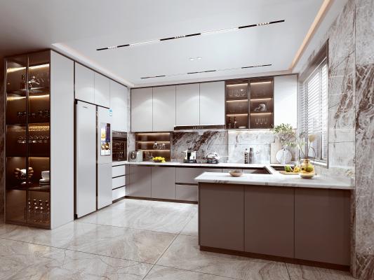 现代厨房 橱柜 油烟机