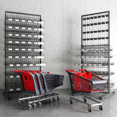 现代超市货架推车组合