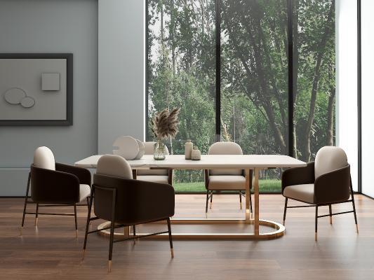 现代轻奢餐桌 餐椅 餐桌椅组合