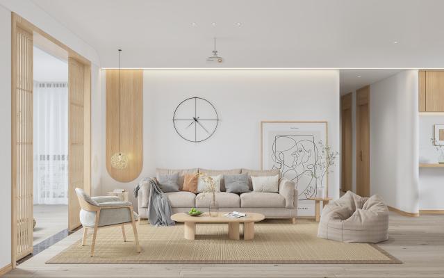 日式客厅 原木沙发组合 屏风
