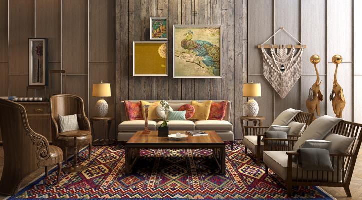 东南亚客厅 组合沙发 装饰品