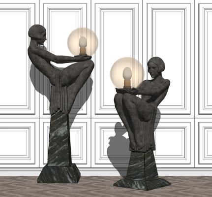 现代人物雕塑灯