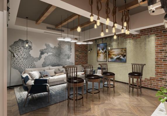 现代会客厅 酒窖 酒柜
