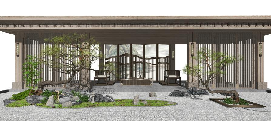 新中式景观小品 庭院景观 枯山水