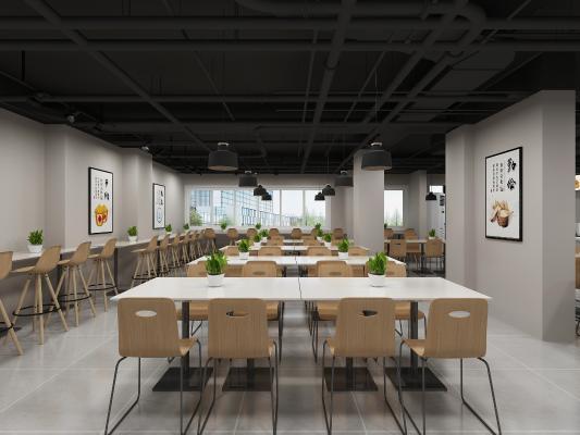 现代食堂 餐厅 吊灯 挂画