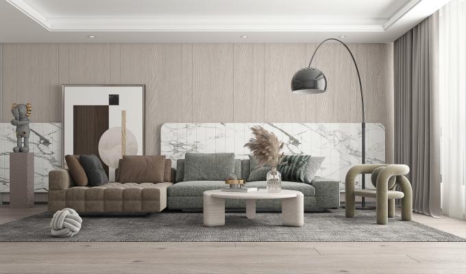 现代客厅 多人沙发 休闲椅