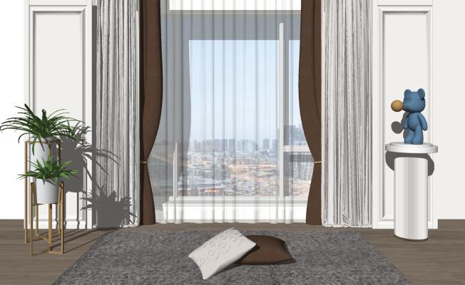 现代窗帘 摆件组合