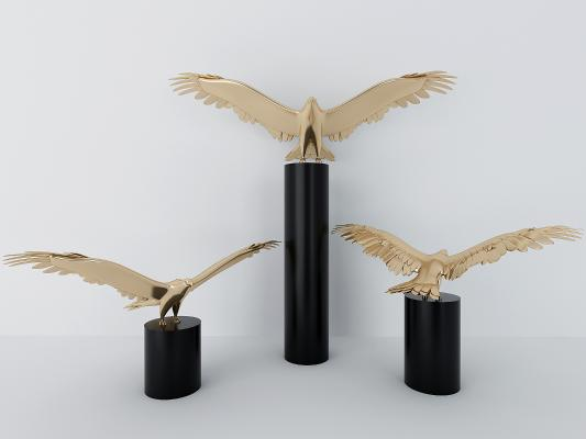 现代金属老鹰摆件