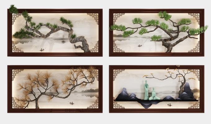 新中式墙饰挂画组合