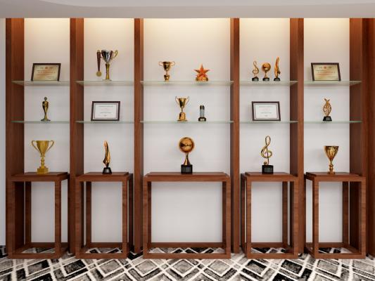 现代奖杯装饰架 荣誉证书