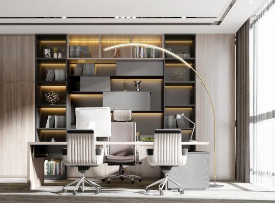 现代办公室 董事长办公室 经理办公室 工作椅 电脑桌