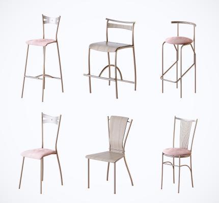 現代網紅金屬休閑單椅 吧椅組合