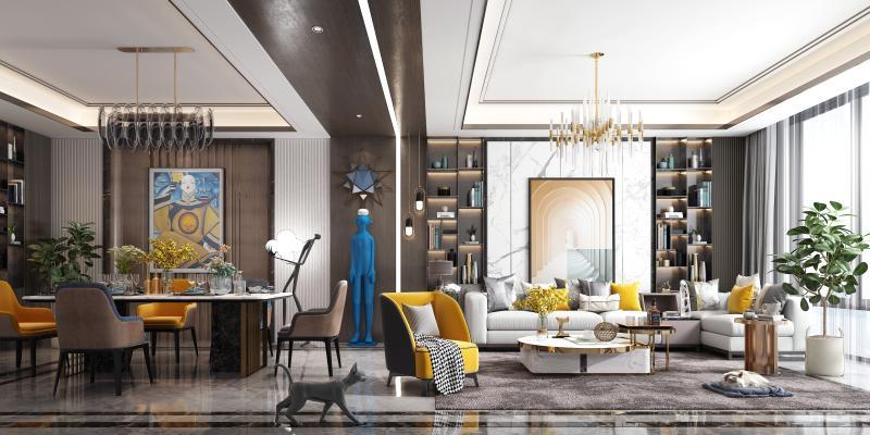 后现代客餐厅 轻奢客餐厅 组合沙发