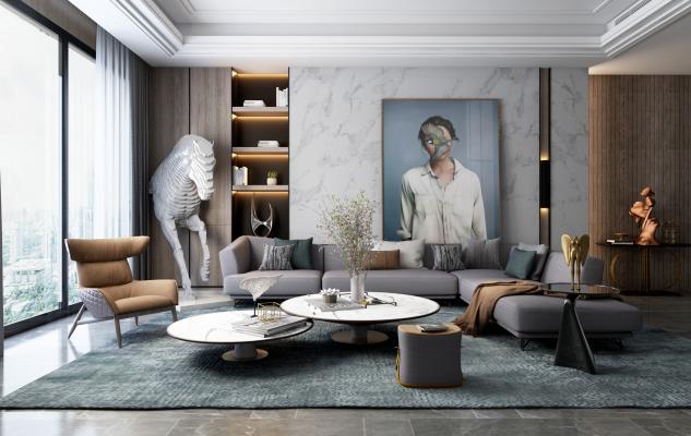 后现代轻奢客厅 沙发 休闲椅 茶几