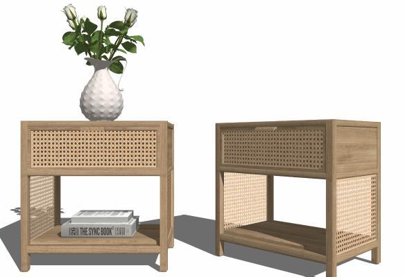 现代藤条木质床头柜